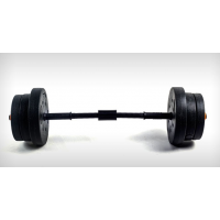 Concrete plastic dumbbell turned into barbell